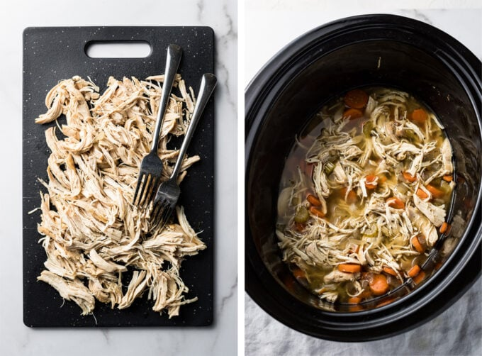 Shredded chicken for use in crockpot chicken gnocchi soup.