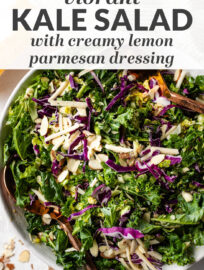 This healthy and easy kale salad recipe uses Brussels sprouts, red cabbage, sliced almonds, and tangy Parmesan to deliver great flavor. Simple to make with a creamy lemon Parmesan dressing that everyone will adore!