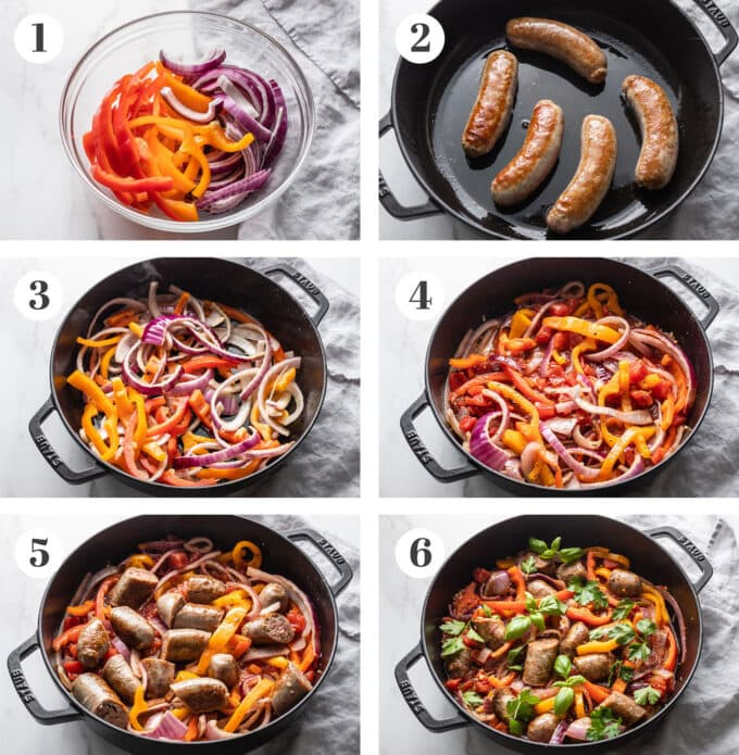 Step by step photos of cut veggies, browning sausages, cooking veggies, simmering liquid, and finished Italian sausages with peppers and onions.