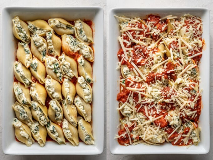 Jumbo shells stuffed with spinach and ricotta, then coated with marinara sauce and more mozzarella cheese.