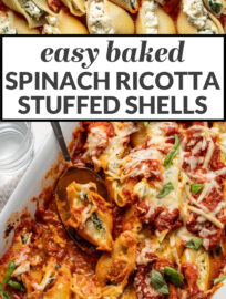 The only recipe you need for the best spinach and ricotta stuffed shells! This easy and classic baked pasta has all the best Italian flavors: three flavorful cheeses, tender garlicky spinach, and delicious marinara sauce, all nestled in jumbo pasta shells for a filling, comforting, and crowd-pleasing vegetarian dinner.