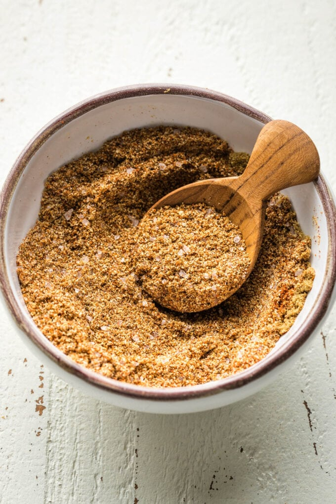 Spices mixed together in a small white bowl.