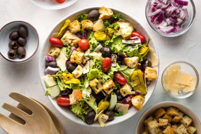 Landscape photo of salad bowl and ingredients.