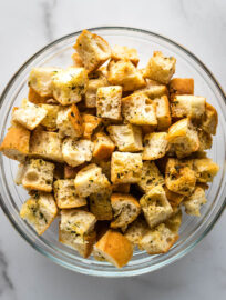 Easy homemade croutons.