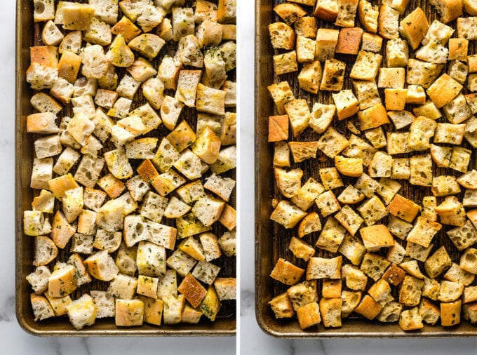 Collage of croutons on baking sheet before and after baking.