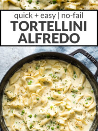 This easy tortellini Alfredo is incredibly delicious and simple to make. It's ready in 25 minutes and lends itself well to lots of tasty variations - add chicken, bacon, sausage, peas, spinach, or broccoli depending on what you like and have on hand. One of the best comforting family recipes we reach for over and over again!