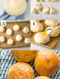 Collage with step by step photos showing how to make hamburger buns.