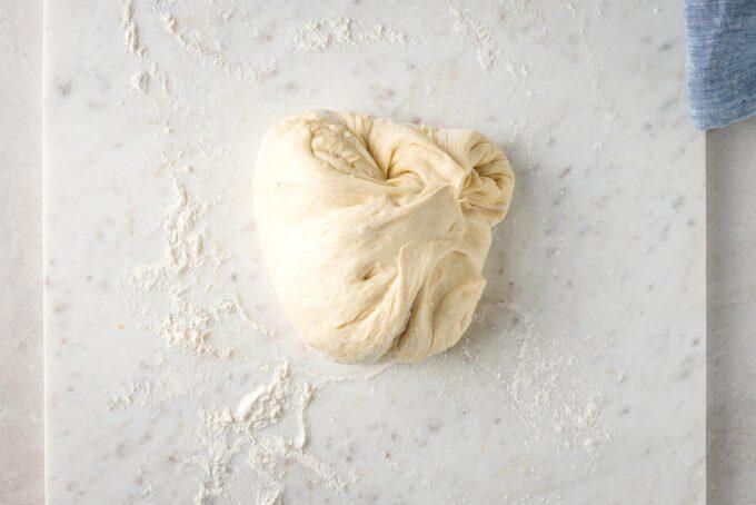 Dough on a lightly-floured work surface.