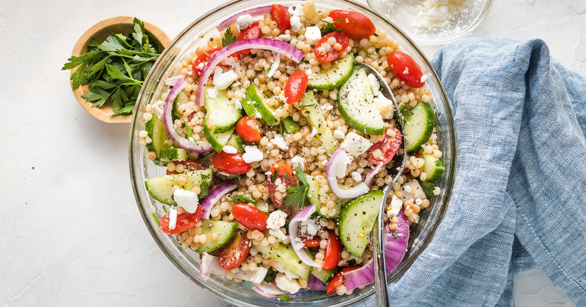 Pearl Couscous Salad with Cucumbers, Tomatoes, and Feta