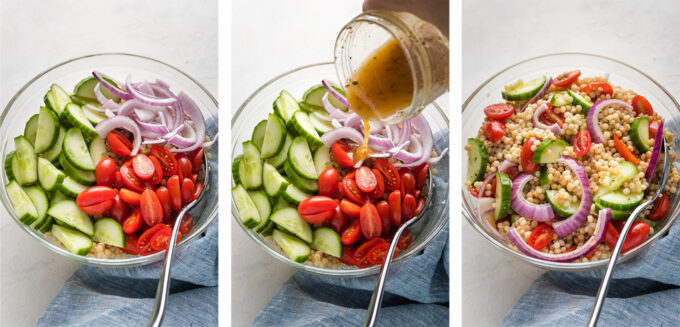Hand pouring dressing and mixing salad in a bowl.