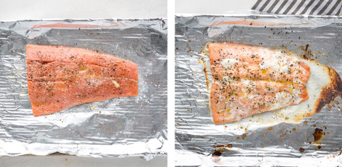Collage showing a salmon filet before and after roasting.