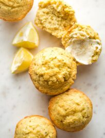 Close-up overhead photo of lemon zucchini muffins.